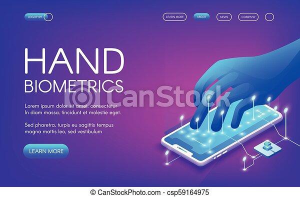 biométrie, vecteur, illustration technologie, main - csp59164975
