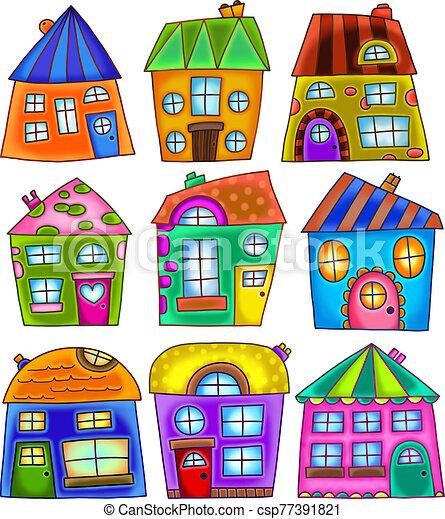 bizarre, coloré, maisons, griffonnage, détaché - csp77391821