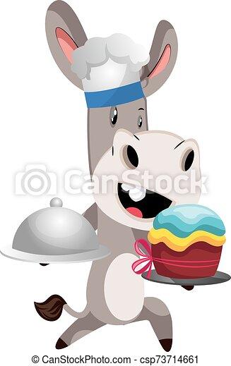 blanc, cuisine, illustration, âne, vecteur, arrière-plan. - csp73714661