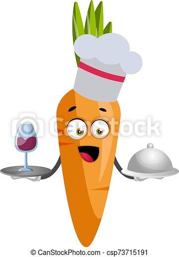 blanc, cuisine, illustration, carotte, vecteur, arrière-plan. - csp73715191