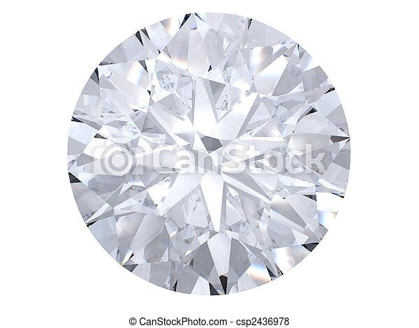 blanc, diamant, vue dessus - csp2436978
