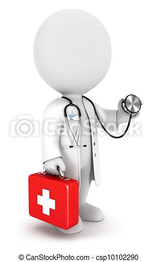 blanc, docteur, 3d, gens - csp10102290