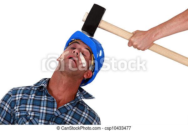 blessé, tête, succès, maillet, être, sur, commerçant - csp10433477