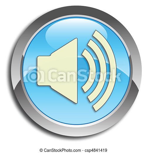 bleu, bouton, orateur - csp4841419
