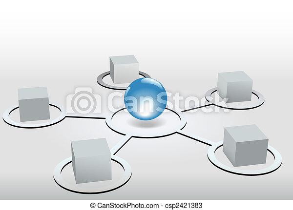 bleu, cubes, réseau, connectetd, sphère, noeuds, brillant - csp2421383