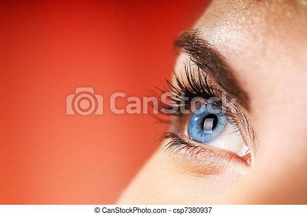 bleu, dof), oeil, (shallow, fond, rouges - csp7380937