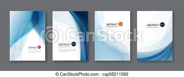 bleu, ensemble, illustration., résumé, arrière-plan., vecteur, ligne - csp58211569