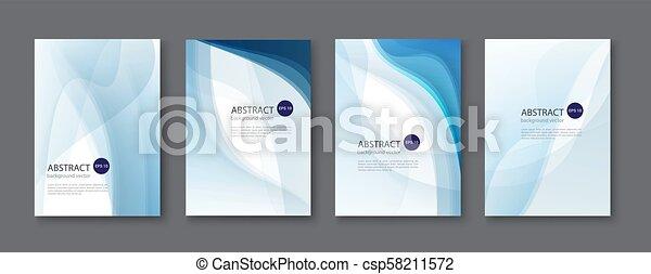 bleu, ensemble, illustration., résumé, arrière-plan., vecteur, ligne - csp58211572