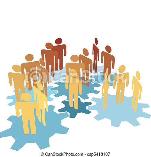 bleu, gens, travail, engrenages, équipe, relier - csp5418107