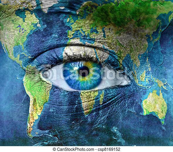 bleu, hman, planète, oeil, la terre - csp8169152