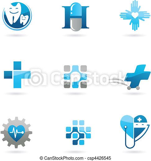 bleu, logos, icônes, soin, médecine - csp4426545