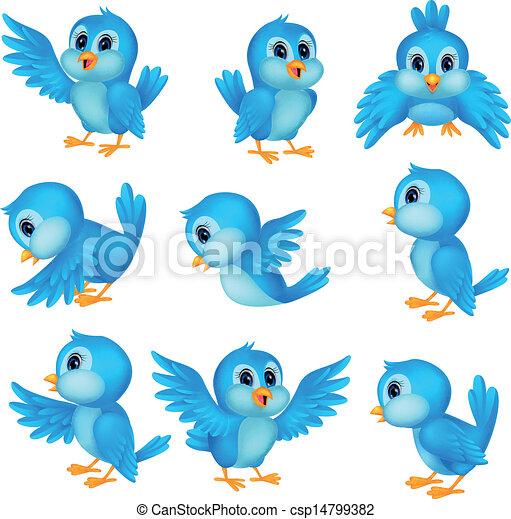bleu, mignon, oiseau, dessin animé - csp14799382