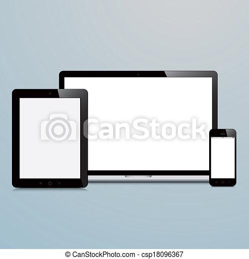 bleu, ordinateur portable, smartphone, fond, tablette - csp18096367