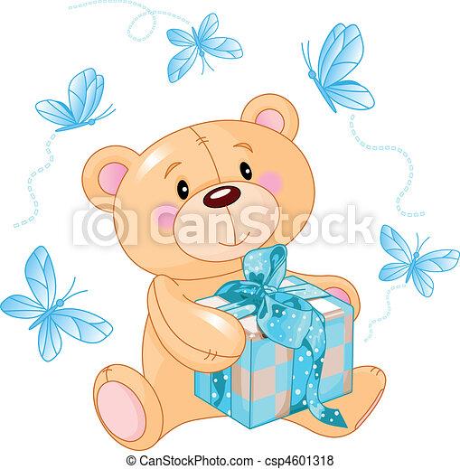 bleu, ours peluche, cadeau - csp4601318
