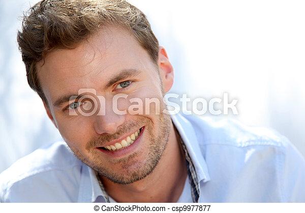 bleu, portrait, beau, chemise, homme - csp9977877