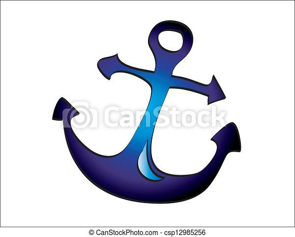 bleu, profond, ancre, illustration - csp12985256