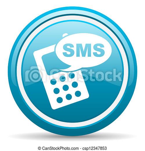 bleu, sms, lustré, fond, blanc, icône - csp12347853