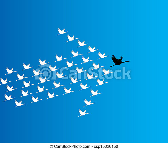 bleu, sombre, concept, plomb, voler, cygne, ciel, nombre, profond, synergie, contre, direction, illustration, fond, grand, :, cygnes, éditorial - csp15026150