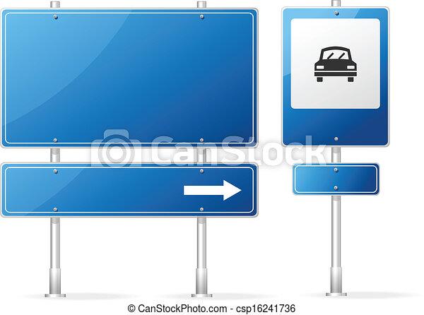 bleu, vecteur, vide, panneaux signalisations - csp16241736