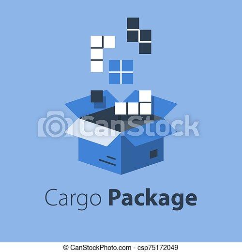 boîte, magasin, services, articles, multiple, grand, ensemble, logistique, paquet, ordre, meute, réunir - csp75172049