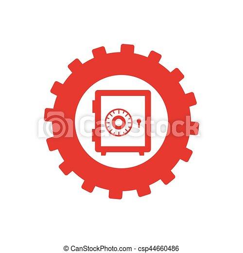 boîte, monochrome, engrenage, safe-deposit - csp44660486