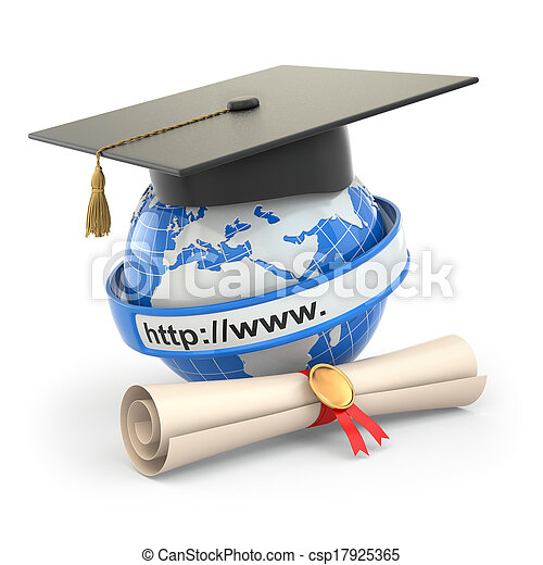 board., mortier, diplôme, e-learning., globe - csp17925365