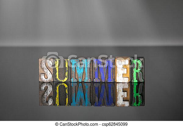 bois, été, mot, coloré, lettres - csp62845099