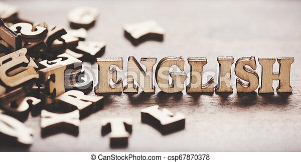 bois, anglaise, fait, mot, letters. - csp67870378