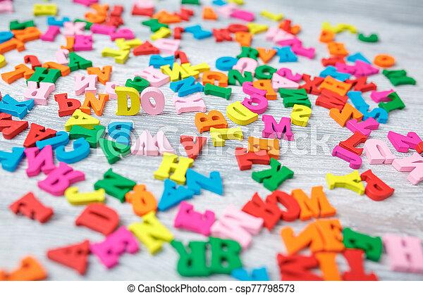 bois, coloré, gris, lettres, fond - csp77798573