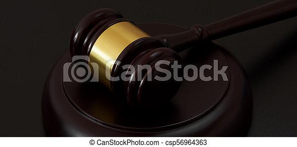 bois, juge, marteau, table - csp56964363