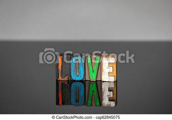 bois, lettres, mot, coloré, amour - csp62845075