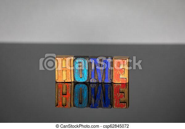 bois, lettres, mot, coloré, maison - csp62845072