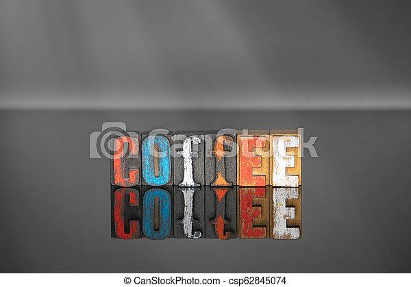 bois, mot, café, lettres, coloré - csp62845074