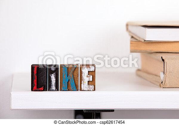 bois, mot, lettres, aimer, coloré - csp62617454