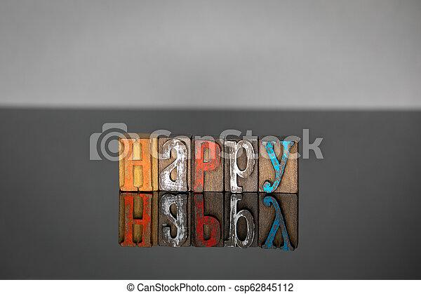 bois, mot, lettres, coloré, heureux - csp62845112