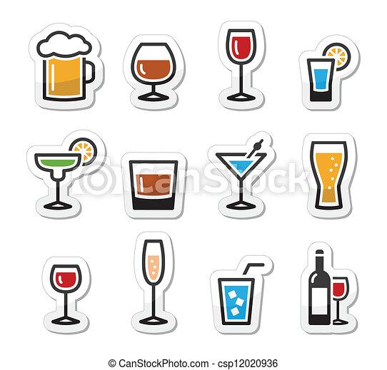boisson, ensemble, alcool, boisson, icônes - csp12020936