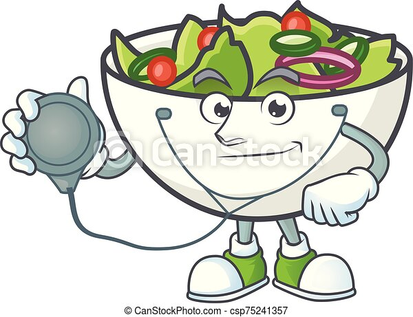 bol, salade, mascotte, docteur - csp75241357