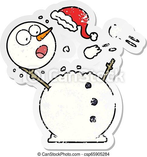 bonhomme de neige, affligé, autocollant, combat snowball - csp65905284