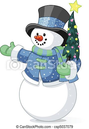 bonhomme de neige, arbre noël - csp5037079