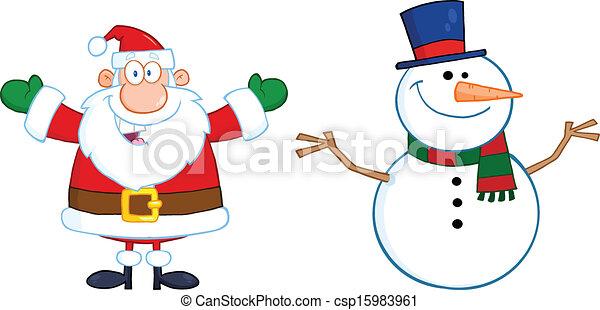 bonhomme de neige, claus, santa - csp15983961