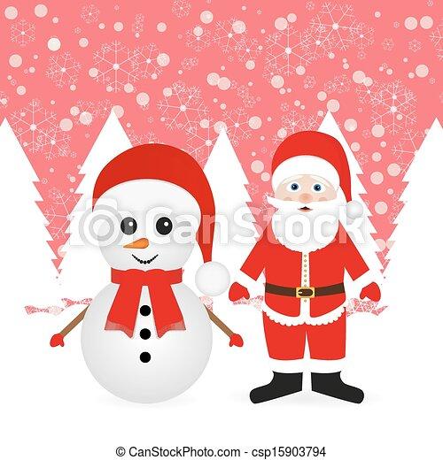 bonhomme de neige, claus, santa - csp15903794