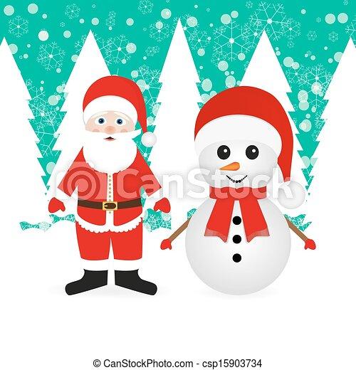bonhomme de neige, claus, santa - csp15903734