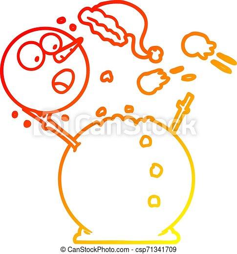 bonhomme de neige, gradient, baston, boule de neige, chaud, dessin ligne - csp71341709