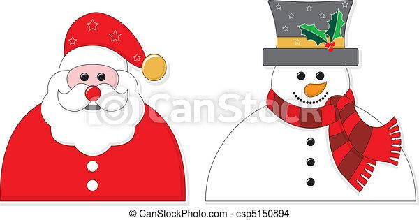 bonhomme de neige, graphique, santa - csp5150894