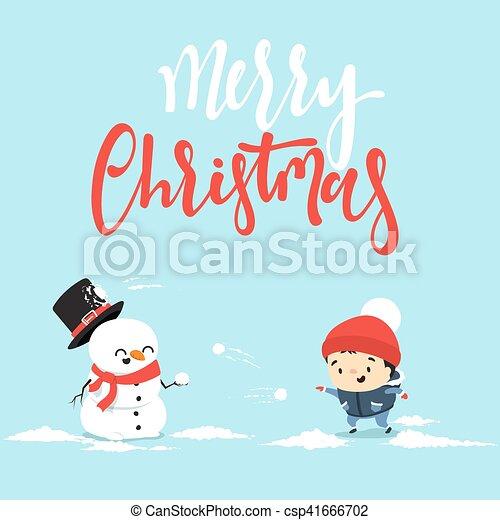 bonhomme de neige, peu, boy., caractère, baston, boule de neige, dessin animé, jouer - csp41666702
