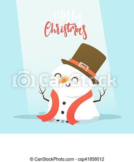 bonhomme de neige, peu, boy., caractère, baston, boule de neige, dessin animé, jouer - csp41858012
