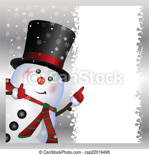 bonhomme de neige, porter, carte - csp22019498
