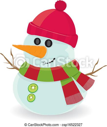 bonhomme de neige, vecteur, dessin animé - csp16522327