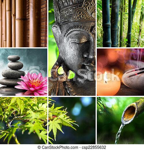 bouddha, culture, oriental, mosaïque, - - csp22855632