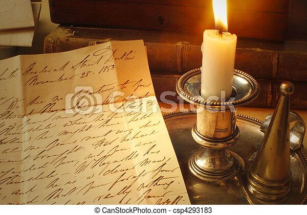 bougie, vieille lettre - csp4293183
